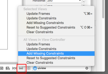 UIView Add Missing Constraints