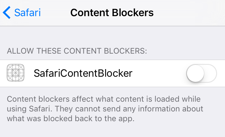 Safari Content Blockers Turn-On