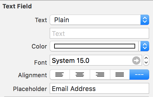 placeholder property attributes inspector