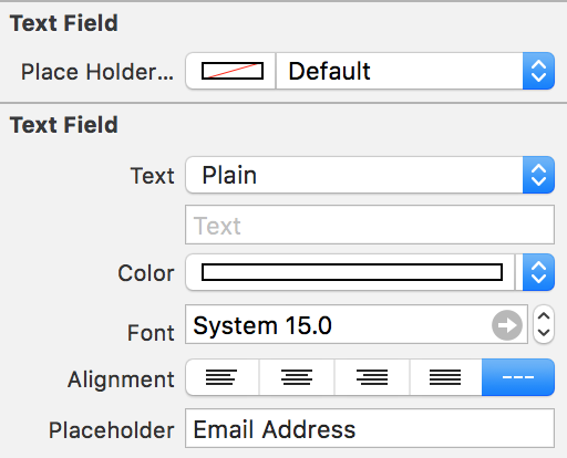 placeholder option attributes inspector swift