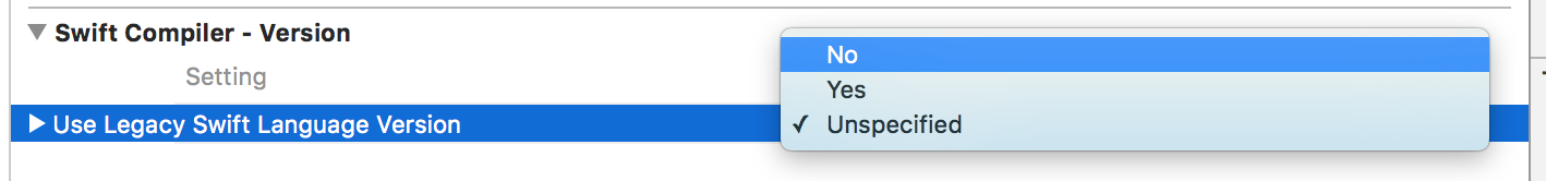 Quick Tip: Fix Use Legacy Swift issue in Xcode 8 Beta 3